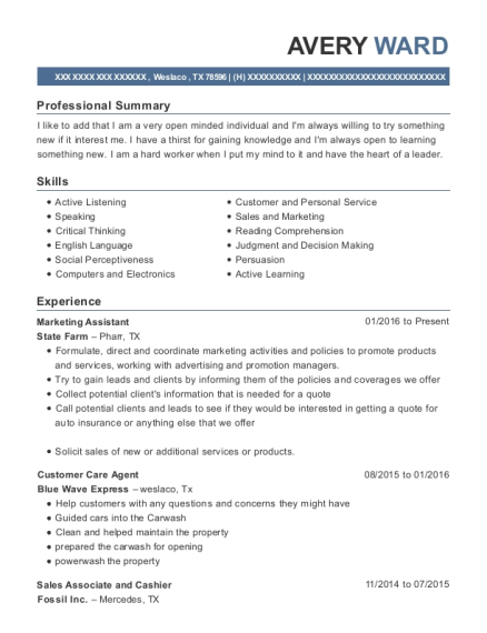 Marketing Assistant resume template Texas