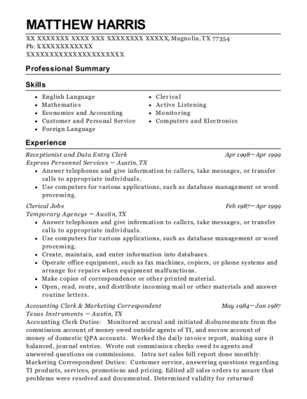 Receptionist and Data Entry Clerk resume template Texas