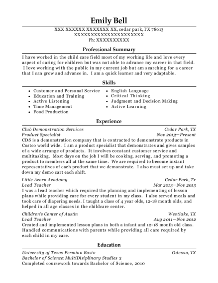 Product Specialist resume sample Texas