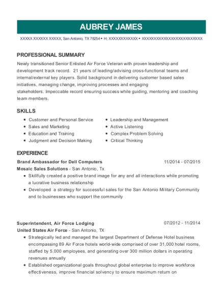 Brand Ambassador for Dell Computers resume template Texas