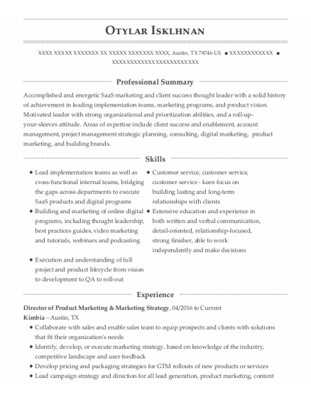 COO resume template Texas