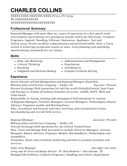 Senior Director of Field Management and Regional Manager resume sample Texas