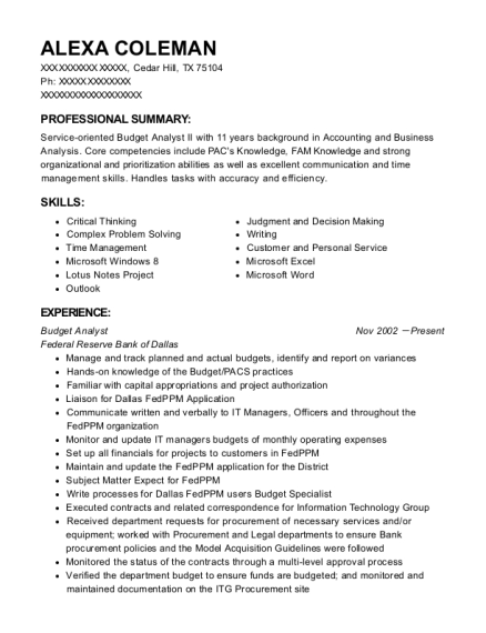 Budget Analyst resume template Texas
