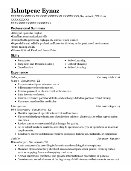 Sales person resume sample Texas