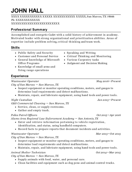 Wastewater Operator resume example Texas