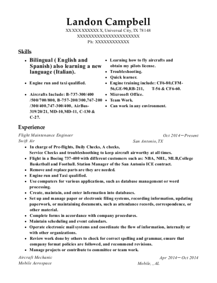 Flight Maintenance Engineer resume template Texas