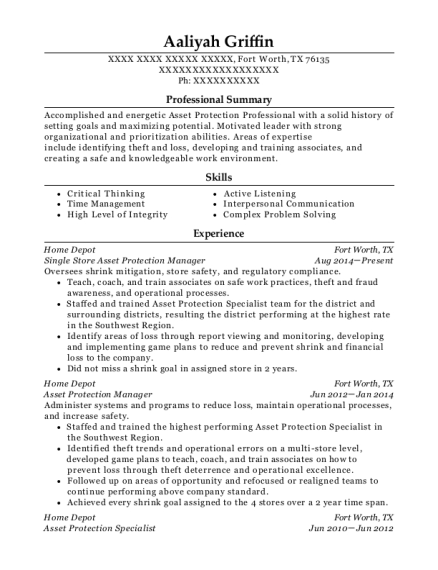 Single Store Asset Protection Manager resume format Texas