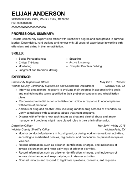 Community Supervision Officer resume template Texas