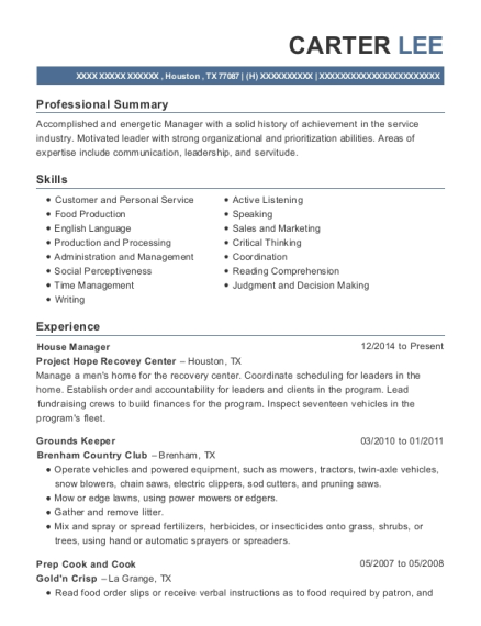 House Manager resume sample Texas