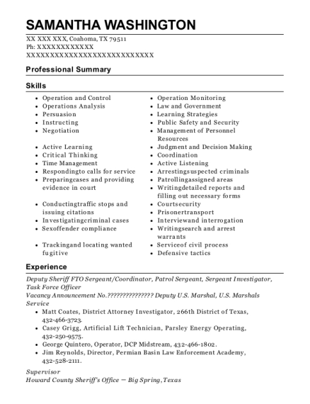 Deputy Sheriff FTO Sergeant resume template Texas