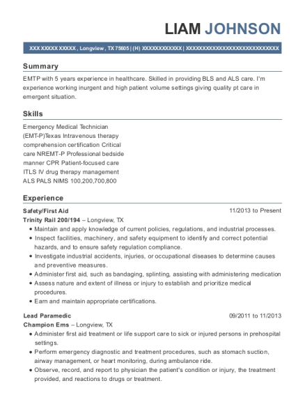 Safety resume template Texas