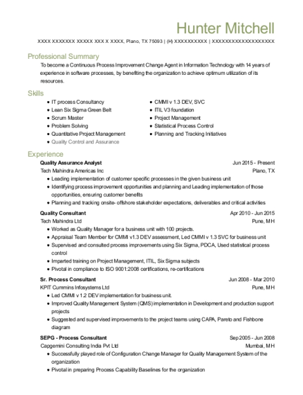 Quality Assurance Analyst resume example Texas