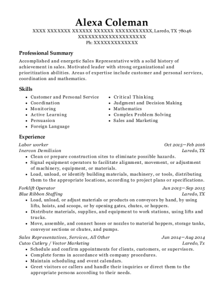 Labor worker resume template Texas