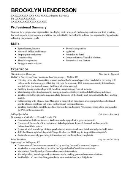 Client Service Manager resume sample Texas