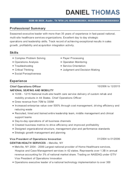Chief Operations Officer resume format Texas