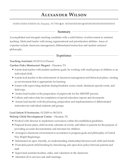 Teaching Assistant resume sample Texas