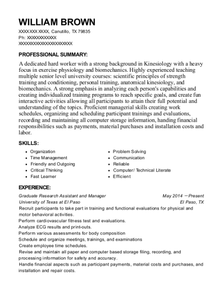 Graduate Research Assistant and Manager resume format Texas