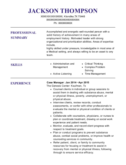 Case Manager resume template Texas