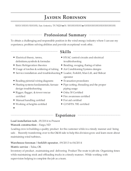Lead installation tech resume example Texas