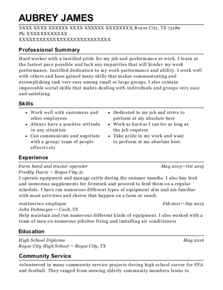 Farm hand and tractor operater resume template Texas