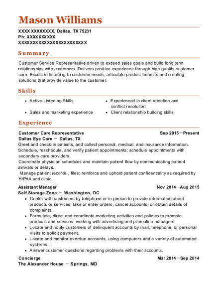 Customer Care Representative resume template Texas