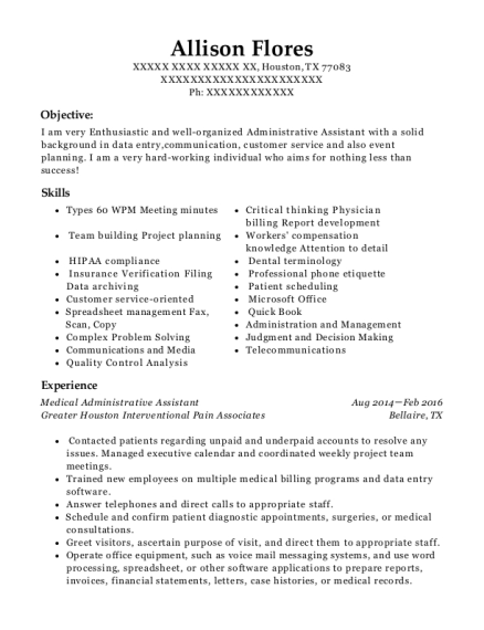 Medical Administrative Assistant resume format Texas