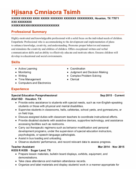 Special Education Paraprofessional resume template Texas