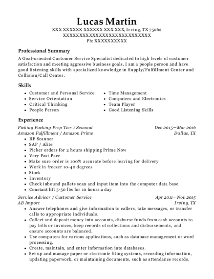Picking Packing Prep Tier 1 Seaonal resume example Texas