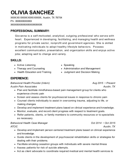 Behavioral Health Provider resume format Texas