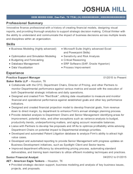 Practice Support Manager resume sample Texas