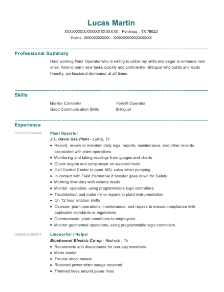 Fowlerton Energy Services Gauger Resume Sample Cotulla