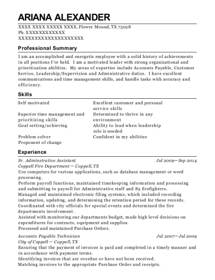 Sr Adminstrative Assistant resume template Texas