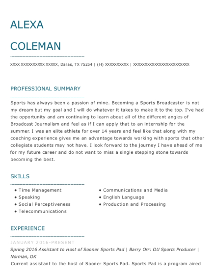 Spring 2016 Assistant to Host of Sooner Sports Pad resume example Texas