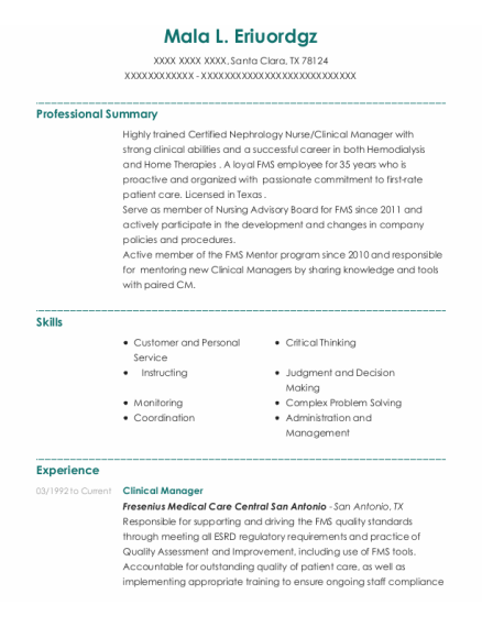 Clinical Manager resume sample Texas