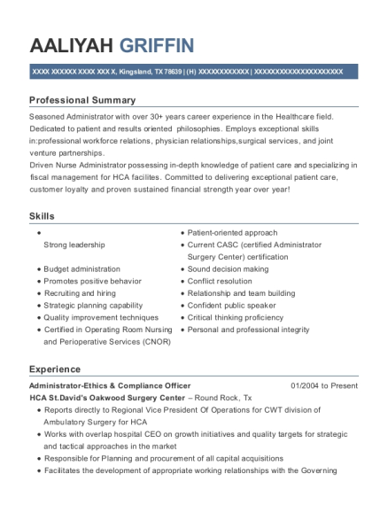 Administrator Ethics & Compliance Officer resume example Texas