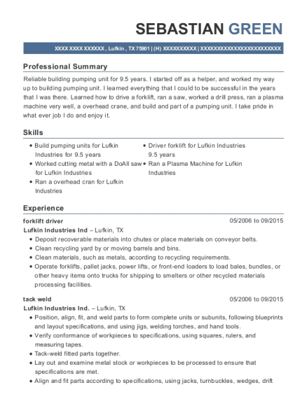 forklift driver resume example Texas