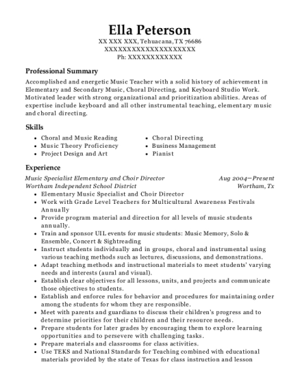Music Specialist Elementary and Choir Director resume format Texas