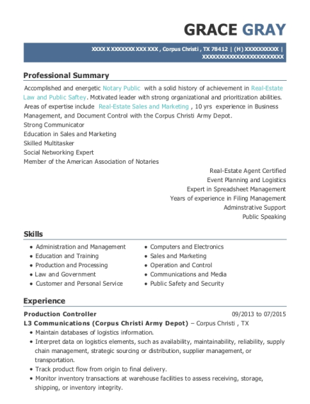 Production Controller resume sample Texas