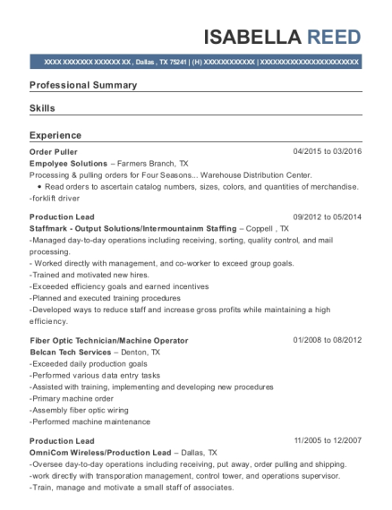 Order Puller resume example Texas