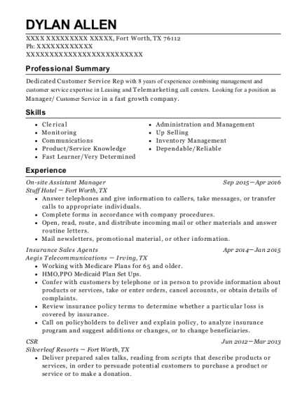 On site Assistant Manager resume format Texas