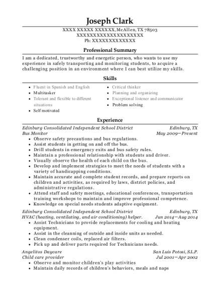 Bus Monitor resume format Texas