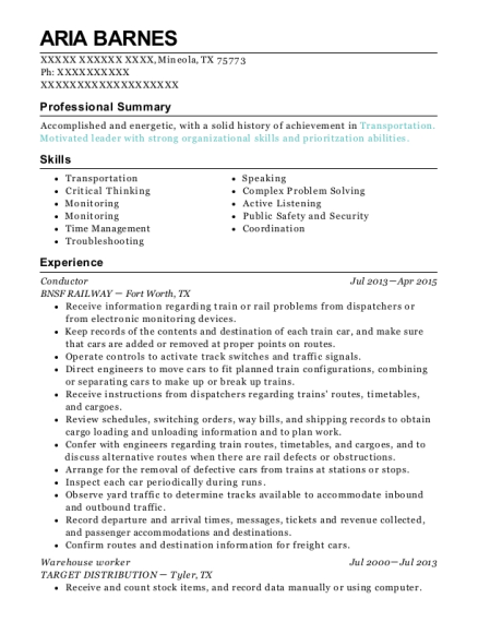 Conductor resume format Texas