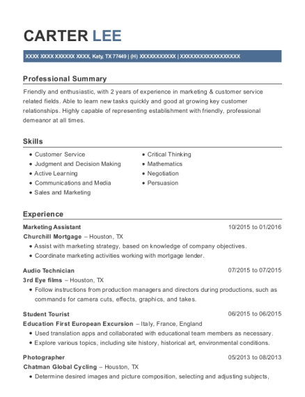 Marketing Assistant resume example Texas