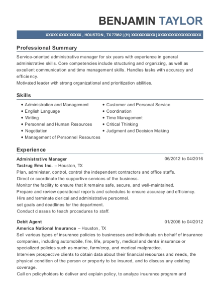 Administrative Manager resume format Texas