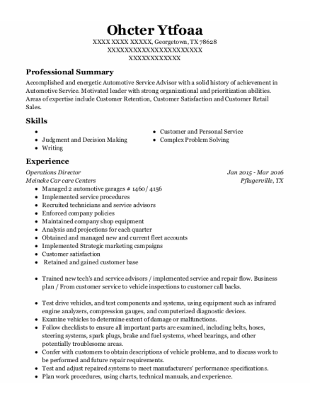 Operations Director resume format Texas