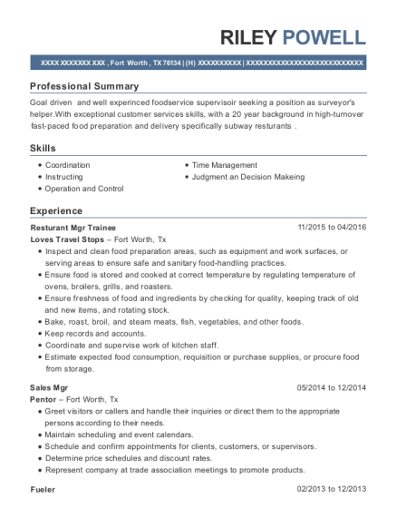 Resturant Mgr Trainee resume example Texas