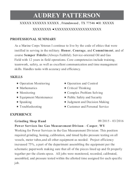 Grinding Shop Hand resume example Texas