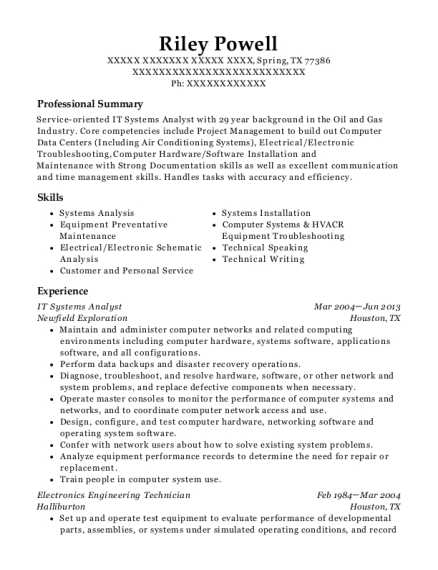 IT Systems Analyst resume template Texas
