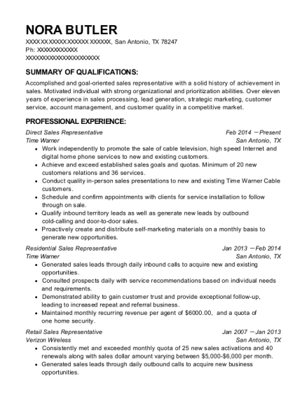 Direct Sales Representative resume sample Texas