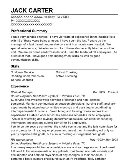 Clinical Manager resume format Texas